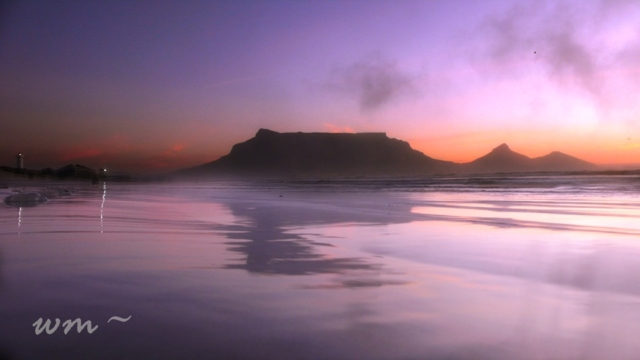 Table Mountain, Table Bay. South Africa. Beach